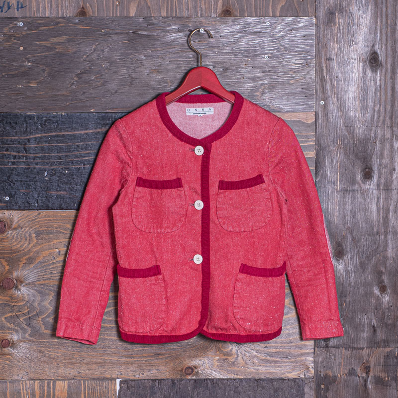 《JULIA》 WOMEN'S COLLAR-LESS  JACKET (SILK NEP/RED)