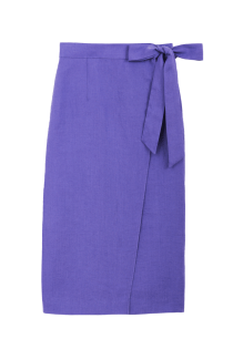 Color Linen Straight Skirt